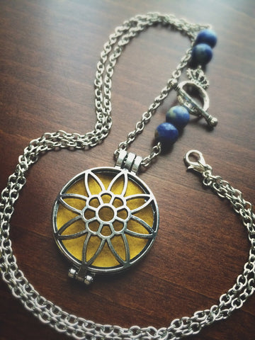 Sun Flower Essential Oil Diffuser Locket Necklace - CHOOSE YOUR BEAD! 28 inch - Antique Silver Tone - Amethyst Turquoise Agate Labradorite