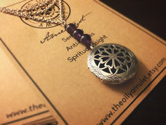 Essential Oil Locket Diffuser Necklace - Amethyst - Antique SIlver Tone
