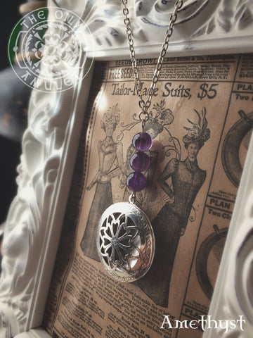 The Oily Amulet Original - Amethyst - Essential Oil Locket Diffuser Necklace - 24 INCH - Antique SIlver Tone