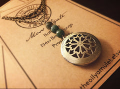 Essential Oil Locket Diffuser Necklace - Moss Agate - Antique Brass Tone