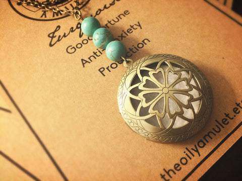 The Oily Amulet Original - Turquoise - Essential Oil Locket Diffuser Necklace - 24 INCH - Antique Brass Tone