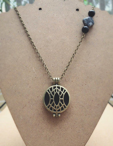 The Watcher - Oily Amulet Signature - Essential Oil Diffuser Locket Necklace - 20 inch - Antique Brass Tone - Black Onyx & Grey/Black Marble