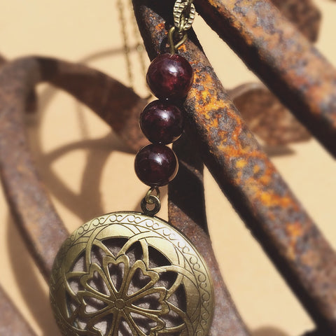 Essential Oil Locket Diffuser Necklace - Garnet