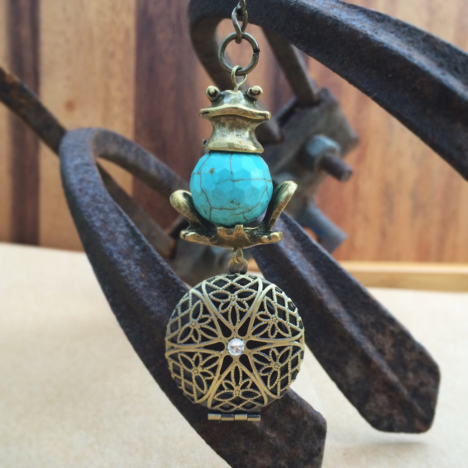 Turquoise Antique Brass Tone Froggy Frog Essential Oil Diffuser Locket Keychain Keyring with Swarovski Crystal Eclectic