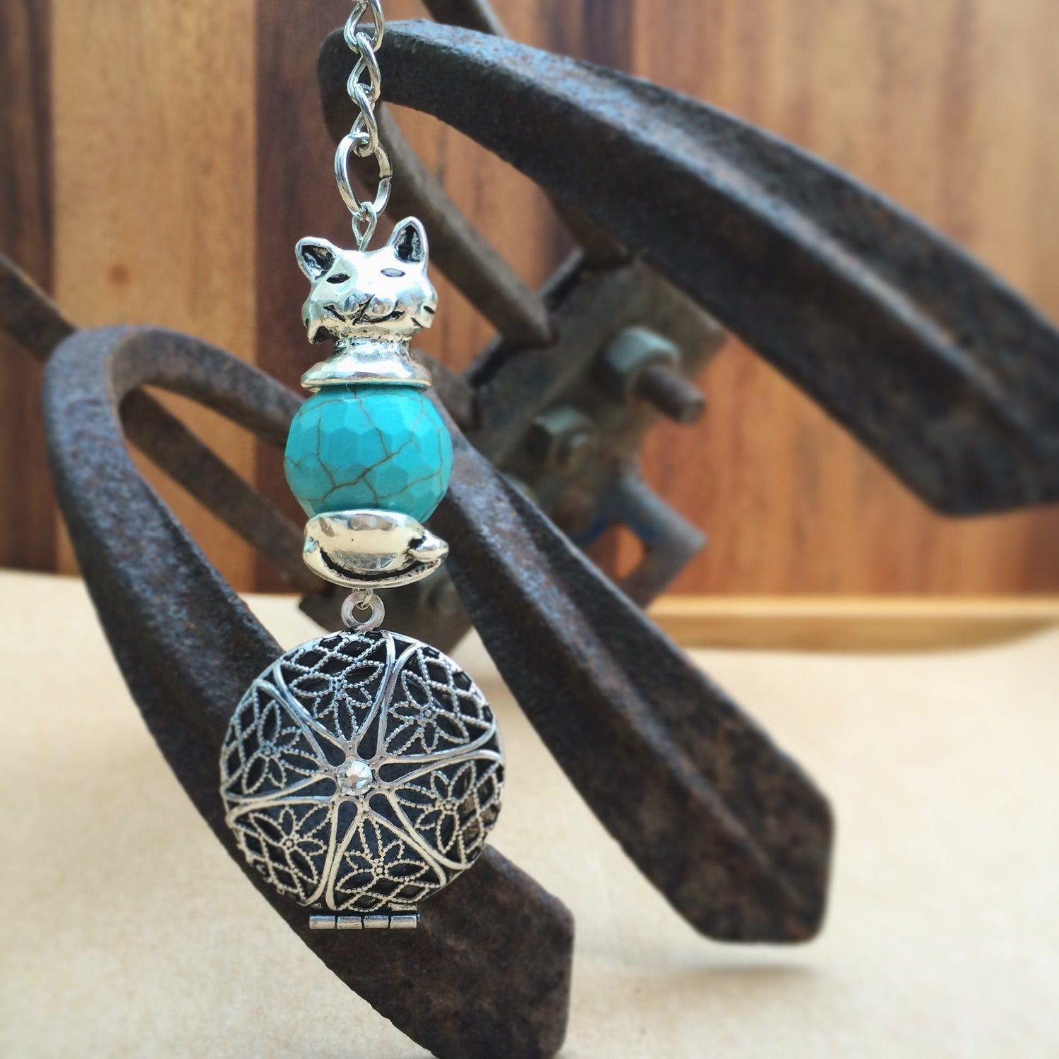 Turquoise Antique Silver Tone Kitty CAT Essential Oil Diffuser Locket Keychain Keyring with Swarovski Crystal Eclectic