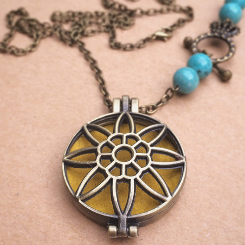 Sun Flower Essential Oil Diffuser Locket Necklace - CHOOSE YOUR BEAD! 28 inch - Antique Brass Tone - Amethyst Turquoise Agate Labradorite