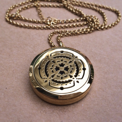 The Oily Amulet Design No.1 - 18k Gold Plated Stainless Steel Diffuser Necklace