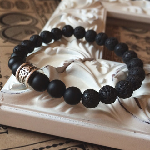 Black Onyx CELTIC Knot Essential Oil Diffuse Bracelet + Lava Bead - 7 inch Silver Tone - Grounding Meditation Beads Grounding + Mens Women