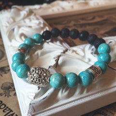Turquoise Dyed Natural Riverstone Beads - Lava Diffusing Stretchy Bracelet