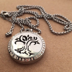 Tree of Life No.2 - Rhinestone Stainless Steel Diffuser Necklace