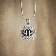 Lotus Lava Diffuser Necklace - Rhodium Tone Cage Locket Necklace