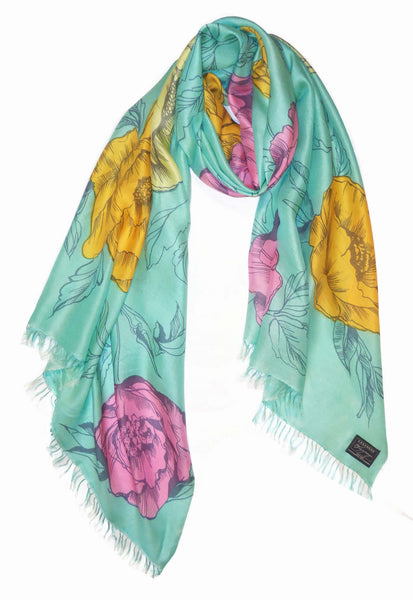 Sketched Floral Scarf on Fine Silk