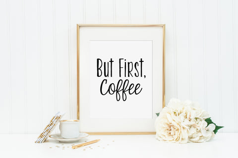 But First Coffee Linen Print