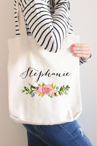 Copy of Floral Wreath Name Tote Bag - Poppy Collection