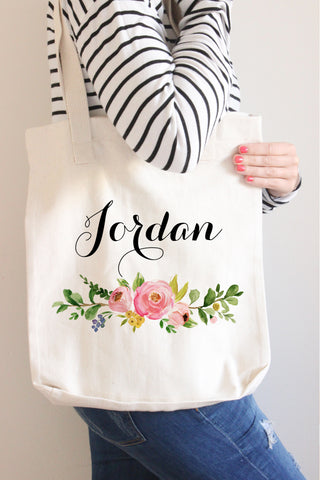 Floral Wreath Name Tote Bag - Anna Collection
