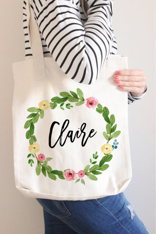 Floral Wreath Name Tote Bag - Ellie Collection