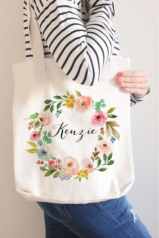 Floral Wreath Name Tote Bag - Poppy Collection