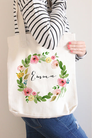 Floral Wreath Name Tote Bag - Mila Collection