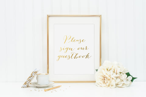 Please Sign Our Guestbook Gold Foil Print