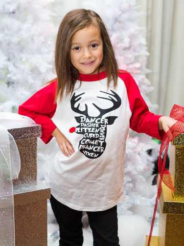 Youth Reindeer Names Christmas Raglan Shirt