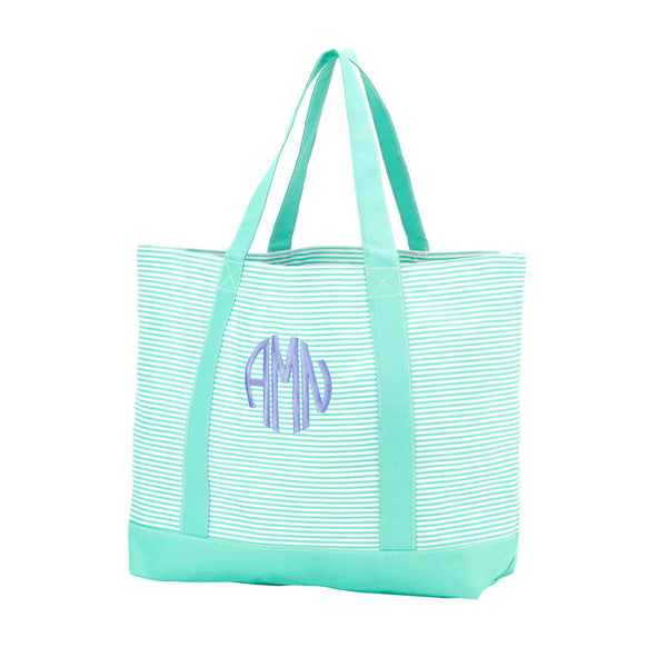Mint Pinstripe Tote Bag - Tote - Bag - Purse - Monogrammed - Personalized