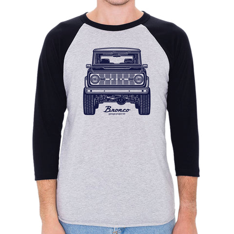 Classic Ford Bronco Front Men's 3/4 Sleeve, Baseball Shirt