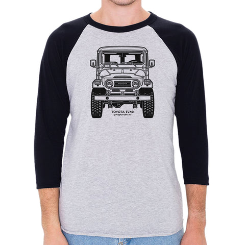 Toyota FJ40 Land Cruiser Front Men's 3/4 Sleeve, Baseball Shirt