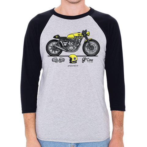 GP Crew 002 - Yamaha SR400 Cafe Racer 3/4 Sleeve, Baseball Shirt