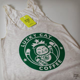 Lucky Cat Coffee Shop Women's Tank Top (Junior Size)