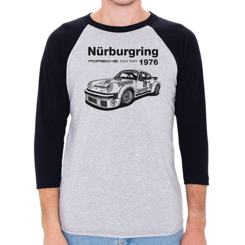 1976 Porsche 934 RSR Nurburgring Men's 3/4 Sleeve, Baseball Shirt