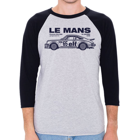1976 Le Mans Porsche 934 RSR Men's 3/4 Sleeve, Baseball Shirt
