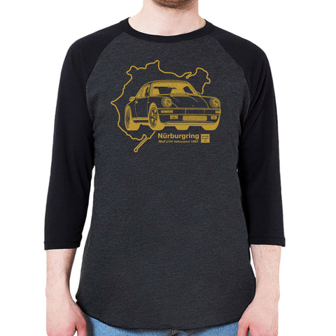 1987 RUF Porsche 911 Yellowbird CTR Men's 3/4 Sleeve, Baseball Shirt