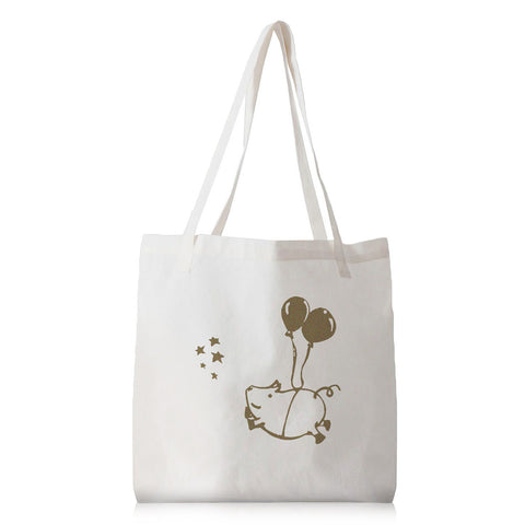 Happy Flying Pig Washable Canvas Tote Bag