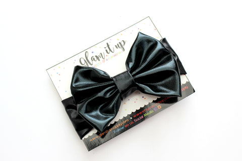 Black Metallic Bow Headband