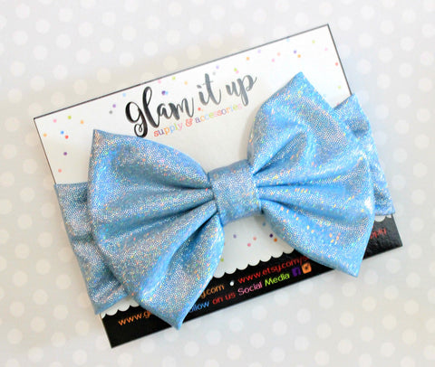 Blue Sparkle Metallic Bow Headband