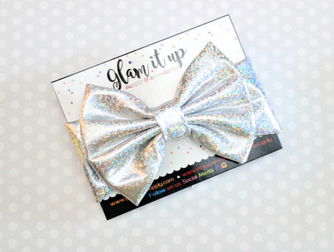 Silver Sparkle Metallic Bow Headband