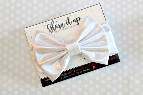 White Metallic Bow Headband