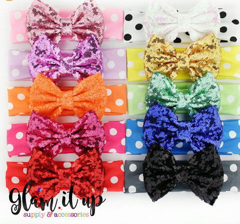 Sequin Polkadot Bow Headband