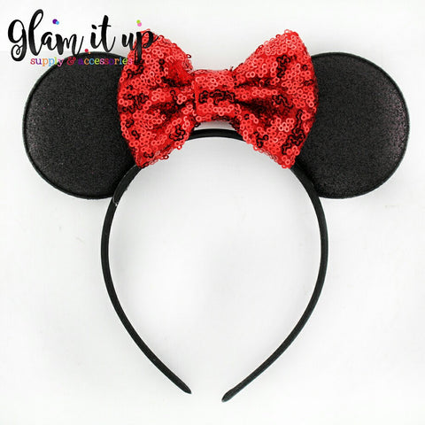 Minnie Mouse ears-Minnie ears-minnie mouse sequin headband-Baby Headband-Toddler Headband- Hair Bows-Minnie mouse headband-Minnie Hairbow