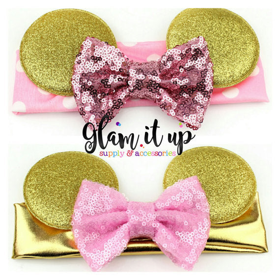 Minnie Mouse Headband-pink and gold headband-Baby Headband-Toddler Headband- Hair Bows-Minnie mouse pink and gold headband-Minnie Hairbow
