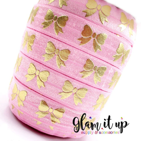 "Pink & Gold Bow Print 5/8"" FOE - Fold Over Elastic"