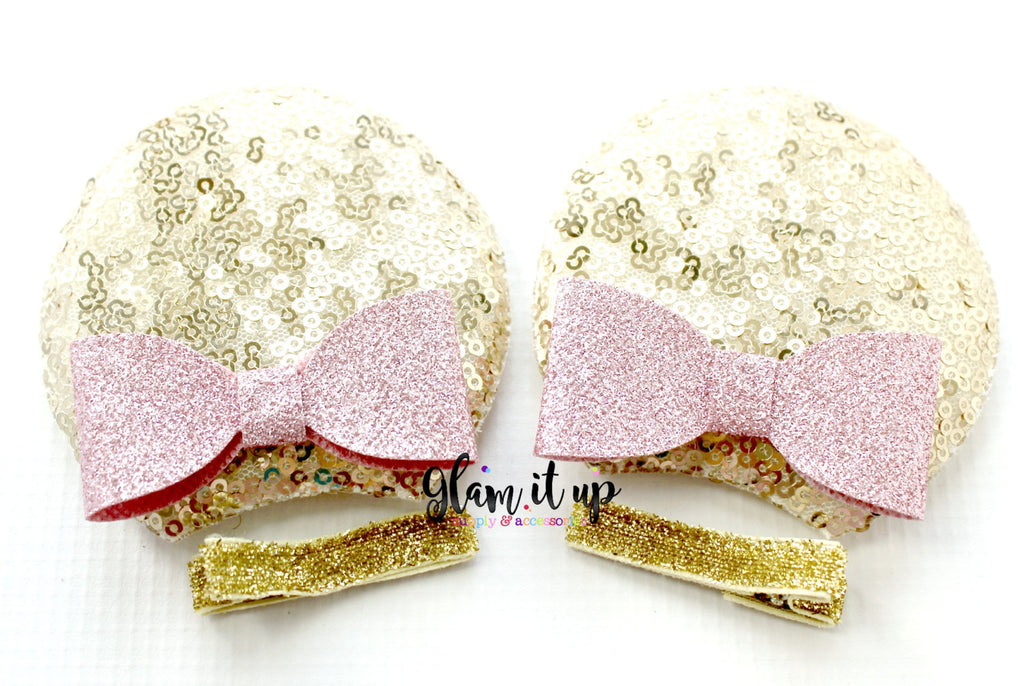 Minnie Mouse Sequin Ears-Diy Kit- Diy headband-pink and gold Diy Ears-Baby Headband-Toddler Headband-bows-Minnie mouse pink and gold Ears