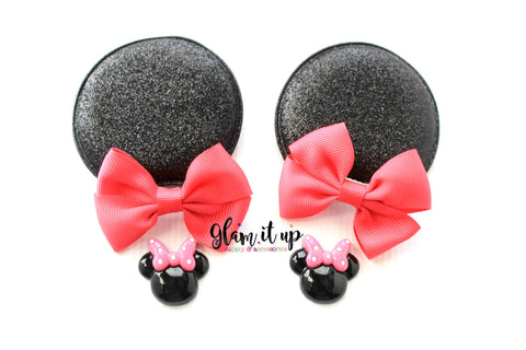 Minnie Mouse Glitter Ears-Diy Kit- Diy headband-Baby Headband-Toddler Headband-bows-Minnie mouse inspired hot pink Ears