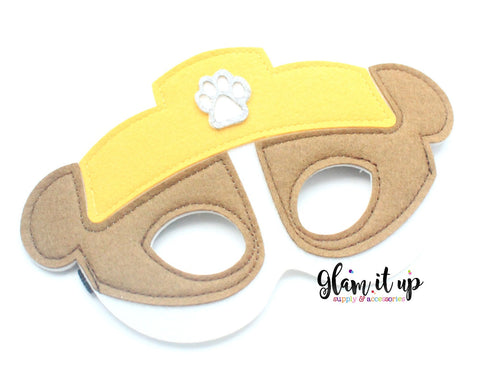 Paw Patrol Mask-Felt mask-Dress up-halloween mask-party mask-party favor-paw patrol costume-rubble mask