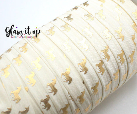 "Unicorn Print Cream 5/8"" FOE"