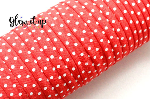 "Polka Dot Red Print FOE - 5/8"" Fold Over Elastic"