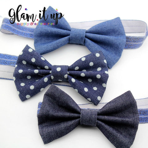 Denim Bow Headband