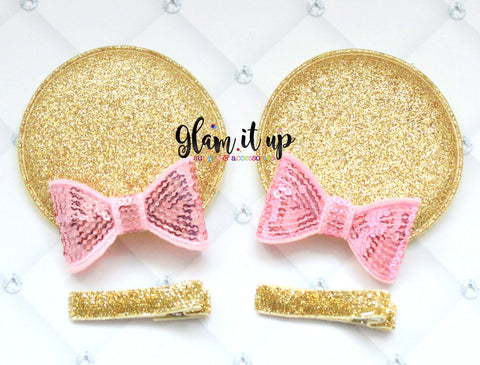 Minnie Mouse Ears-Diy Kit- Diy headband-pink and gold Diy Ears-Baby Headband-Toddler Headband- Hair Bows-Minnie mouse pink and gold Ears