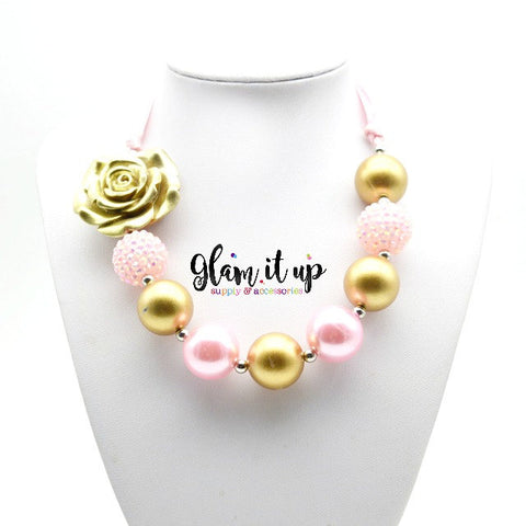 Gold & Pink Chunky Necklace
