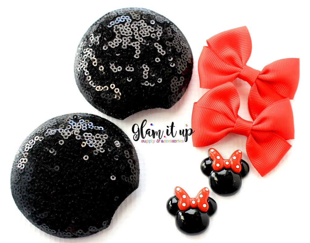 Minnie Mouse Sequin Ears-Diy Kit- Diy headband-Baby Headband-Toddler Headband-bows-Minnie mouse inspired red Ears